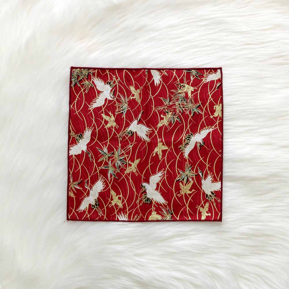 Japanese Style Hand-Made Fabric And Wind Pocket Cotton Satin Bronzing Butterfly Waves Cherry Blossom Crane Handkerchief 12Colors