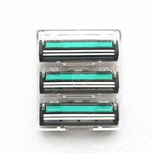 3 adet/kutu tıraş bıçağı erkekler için yüz bakımı 2 kat tıraş kaset paslanmaz çelik güvenlik bıçakları için uygun manuel tıraş makinesi