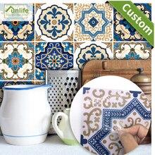 Funlife CUSTOM10/15/20/25/30cm Moroccan Tiles PVC Waterproof Self-adhensive Wallpaper DIY Ground Sticker pack of 10