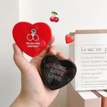 Caja de almacenamiento de lentes de contacto en forma de corazón de regalo, conjunto de caja de plástico suave de goma para gafas de viaje, caja de lentes, contenedor, Kit de cuidado de ojos, soporte