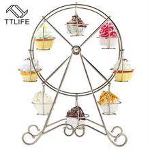 TTLIFE Party Rotatable Pastry Cupcake Holder 8 Cups Supplies Cake Stand Ferris Wheel Kitchen Home Christmas Decoration