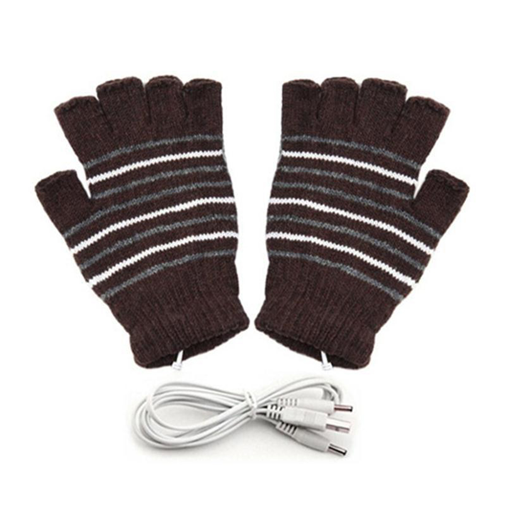 2pcs Knitting With Cover Heating Gloves Cycling Skiing Washable Sports Outdoor Winter Practical Mitten Warm USB Connection