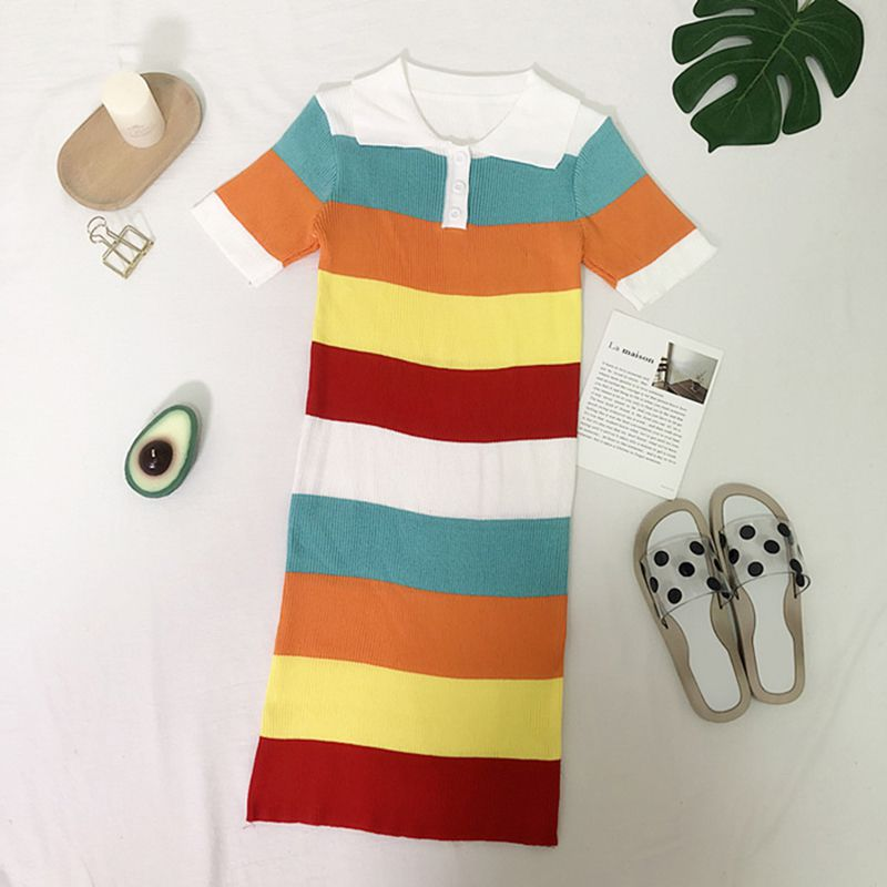women dress,Women Fashion Colour Striped Summer Casual Turn-down Collar Polo Sport dress Rk