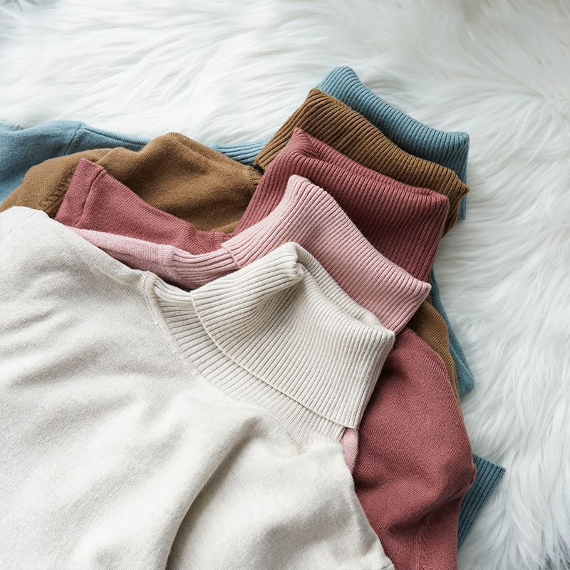 Autumn Women Multicolor Soft Turtleneck Sweater 60% Cashmere Blending Solid Color Sweater Winter Women Warm Cashmere Soft Top