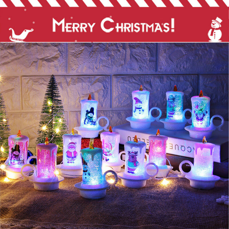 COLOUR CHANGING LED CANDLE GLITTER SWIRLING LED XMAS GIFT DECOR BATTERY OPERATED