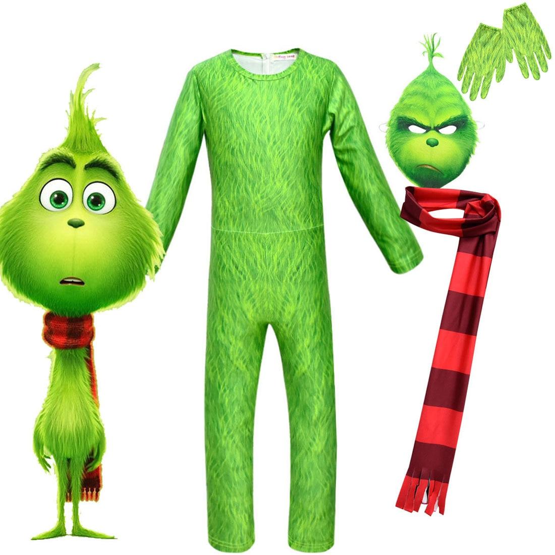 2020novo 4 pçs conjunto novo grinch traje de natal cosplay cabelo verde monstro macacão roupas do miúdo dia das bruxas menina menino