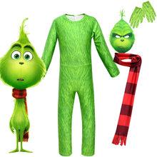 2020New 4 предмета в комплекте новые Гринч рождественские костюмы для костюмированной вечеринки; Зеленые волосы комбинезон с монстрами детска...