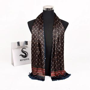 Image 2 - [BYSIFA] New Maroon Male Silk Scarf Tie Thicken Fashion Top Grade 100% Silk Men Neck Scarf Winter Long Scarves Cravats 165*24cm