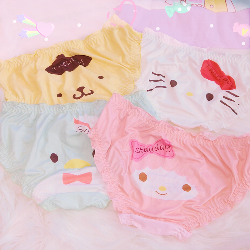 1Pc My Melody Pudding Dog Lolita Panties Cute Girls Cotton Panties Briefs Women's Underwear Daily Size M/L