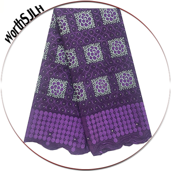 Nigeria Swiss Voile Lace Fabric Purple Men Dry African Fabric Lace Material Stones Lilac Latest African Laces 2019 High Quality