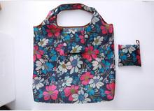 New Floral Foldable handbags Eco storage bags green shopping bag Tote polyester Folding pouch