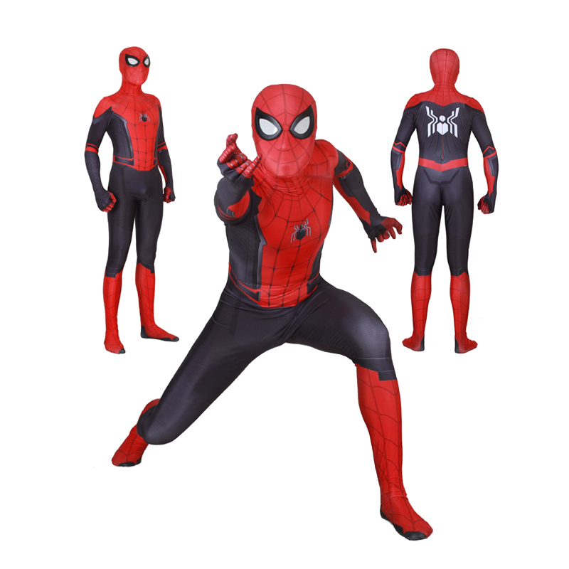 Adult Kids Boys Spider Man Far From Home Peter Parker Cosplay Costume Zentai Spiderman Superhero Bodysuit