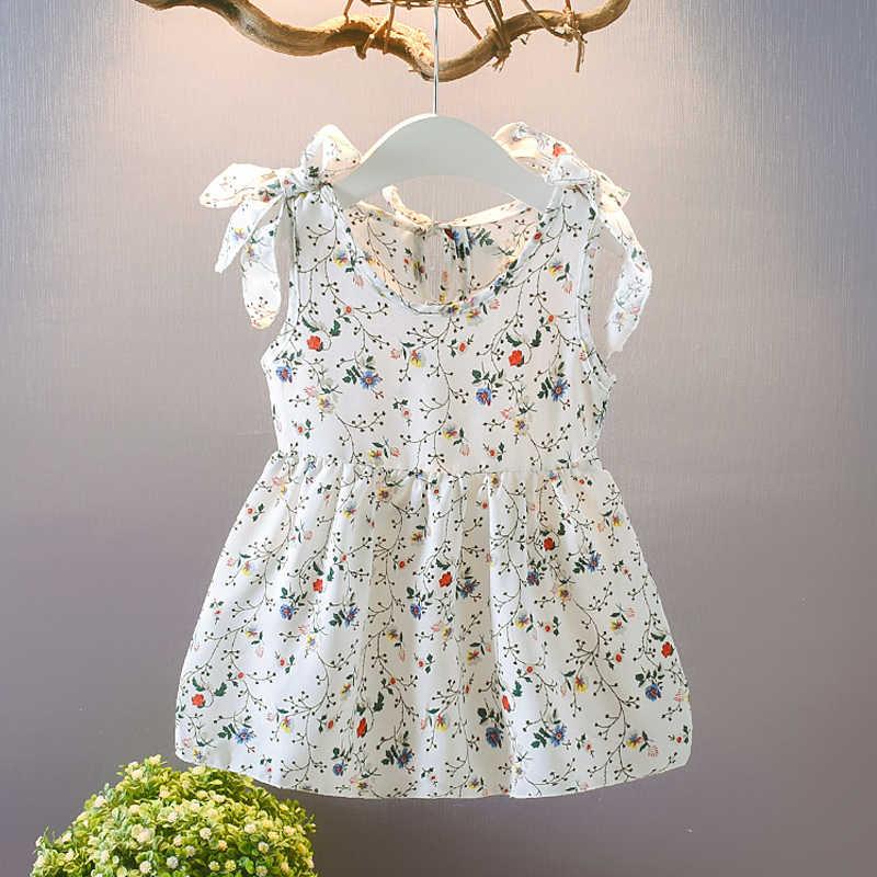 طفل الفتيات فستان 2020 جديد بلا أكمام الشيفون الأطفال الصيف الإناث الطفل حزام فستان الشمس الأزهار الشاطئ