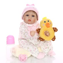 42cm Bebe Doll Reborn Soft Silicone and stuffing cotton Girl simulation Toy Baby Early education Gift for Children