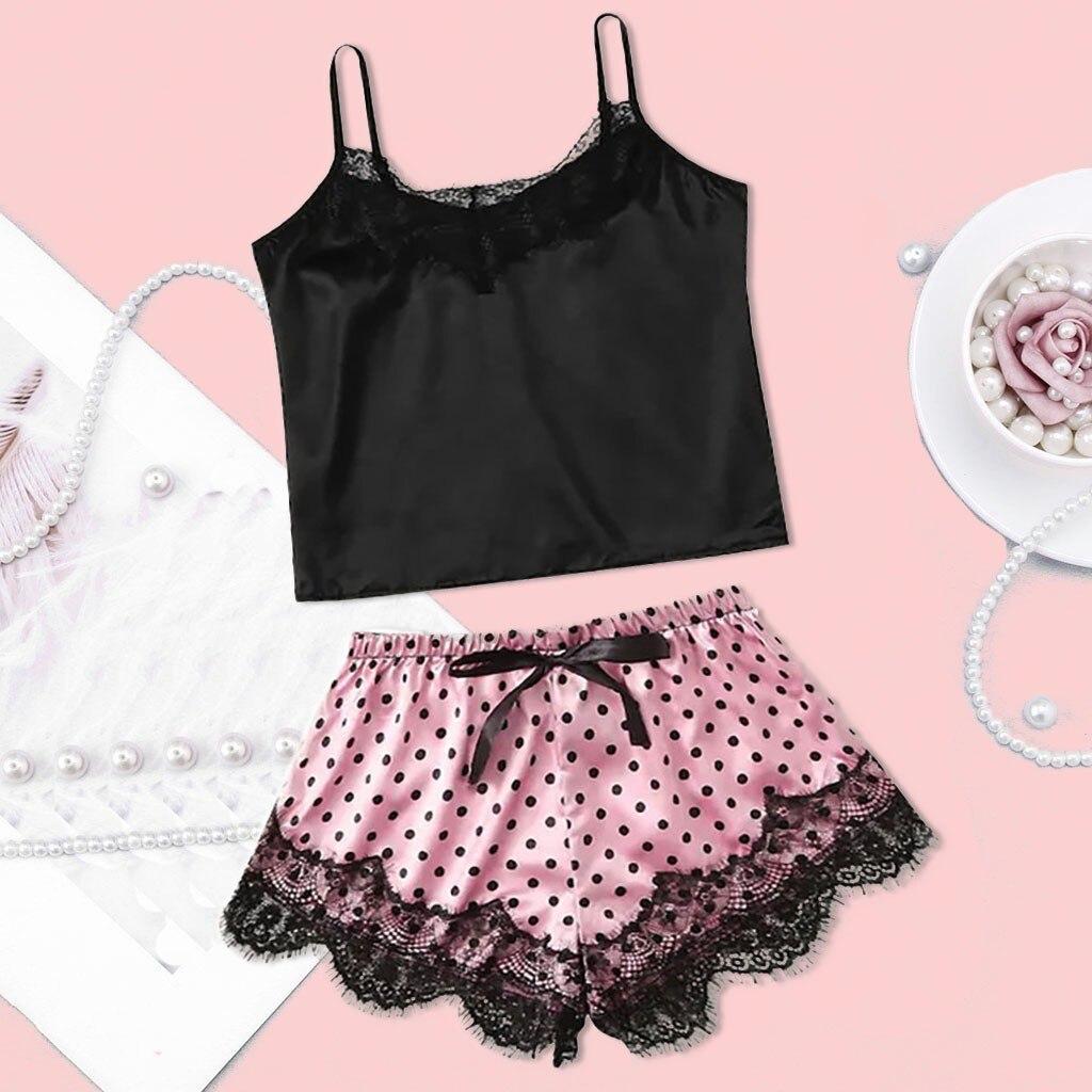 Sexy Pajamas For Women Sleepwear Ladies Sleeveless Polka Dot Print Pijamas On De Mujer Nightwear Pyjamas Female Lingerie J20