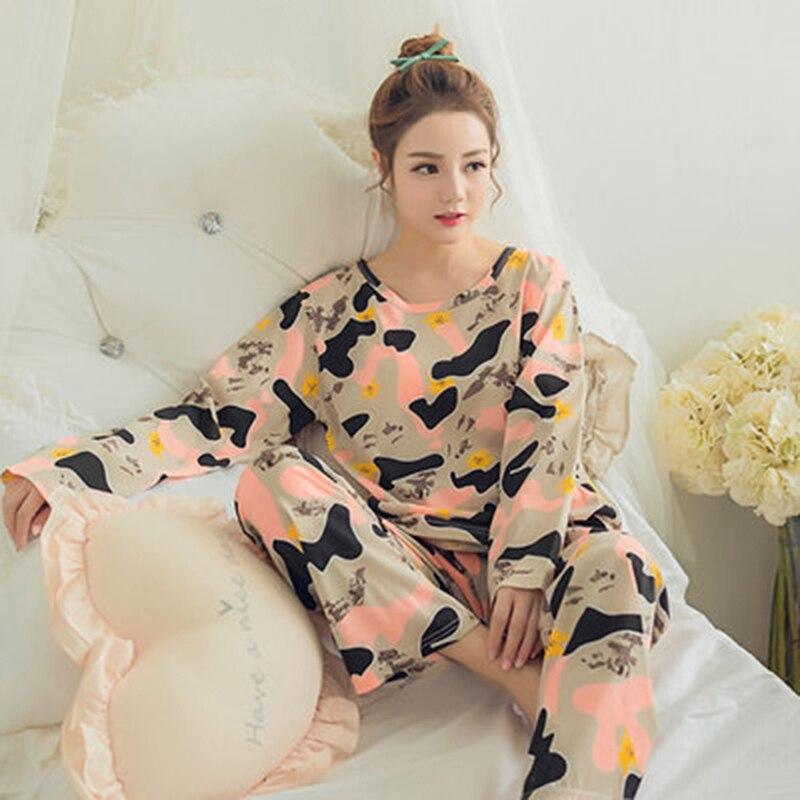 Autumn New Printed Long Sleeve Cute Sleepwear Women Pajamas Set Spring Casual Homewear Female Pyjamas