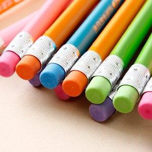 Image 3 - 100 шт Классический Новый Одноцветный бревенчатый карандаш с резиновым креплением HB пишущий карандаш для обучения рисованию канцелярские товары