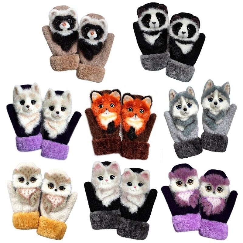 Women Men Winter Knitted Gloves Cute 3D Fluffy Cartoon Animal Thermal Mittens Q0KE