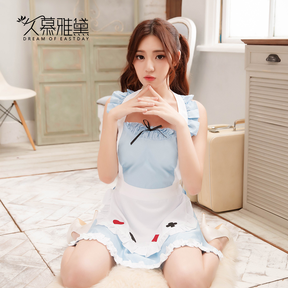 DRAIMIOR New Arrival HOT Sexy Lingerie Cosplay Erotic Apron Maid Sexy Costume Babydoll Dress Blue Cute Apron NJY0128