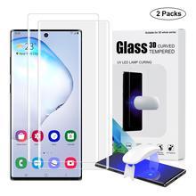 삼성 전자 갤럭시 노트 10 플러스 UV 유리 필름 전체 커버에 대한 지문 잠금 해제 화면 보호기 참고 10 강화 유리