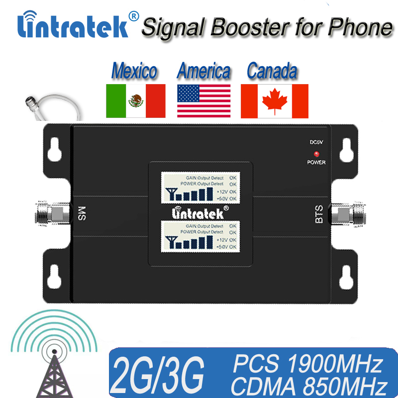 Americas Cell Phone Signal Booster For Home And Office 65dB 850/1900Mhz Dual Band Signal Repeater For Boosting 3G Signal