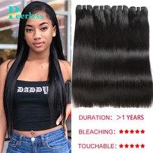 Lot de 4 Extensions de cheveux péruviens vierges lisses, couleur naturelle, 100% cheveux humains crus non traités, 10-28 pouces