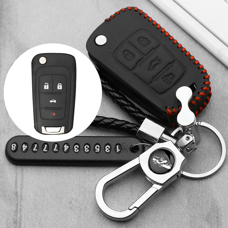 leather Key Case for VAUXHALL OPEL Insignia Astra J Zafira C Mokka for Buick Chevrolet Car Key Fob Cover Housing 4 button