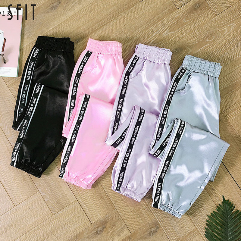 Trousers Harem-Pants Ribbon Highlight Harajuku Joggers Satin Big-Pocket Glossy Sport