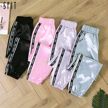 SFIT Big Pocket Satin Highlight Harem Pants Women Glossy Sport Ribbon Trousers BF Harajuku Joggers Women's Sports Pants