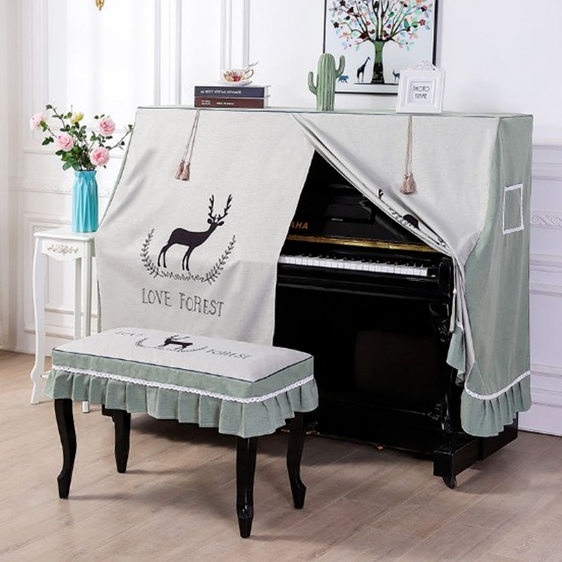 Childlike printed piano dust cover lace lace fabric piano stool cover universal style piano full cover