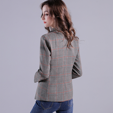 2019 Russia Plaid Women Blazer Pockets Jackets Female Retro Suits Coat Feminino Outerwear Lahore