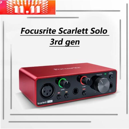 Focusrite Scarlett Solo 3rd поколения аудио интерфейс звуковая карта с интерфейсом USB 24-бит/192 кГц AD-преобразователей для записи предусилитель микрофона