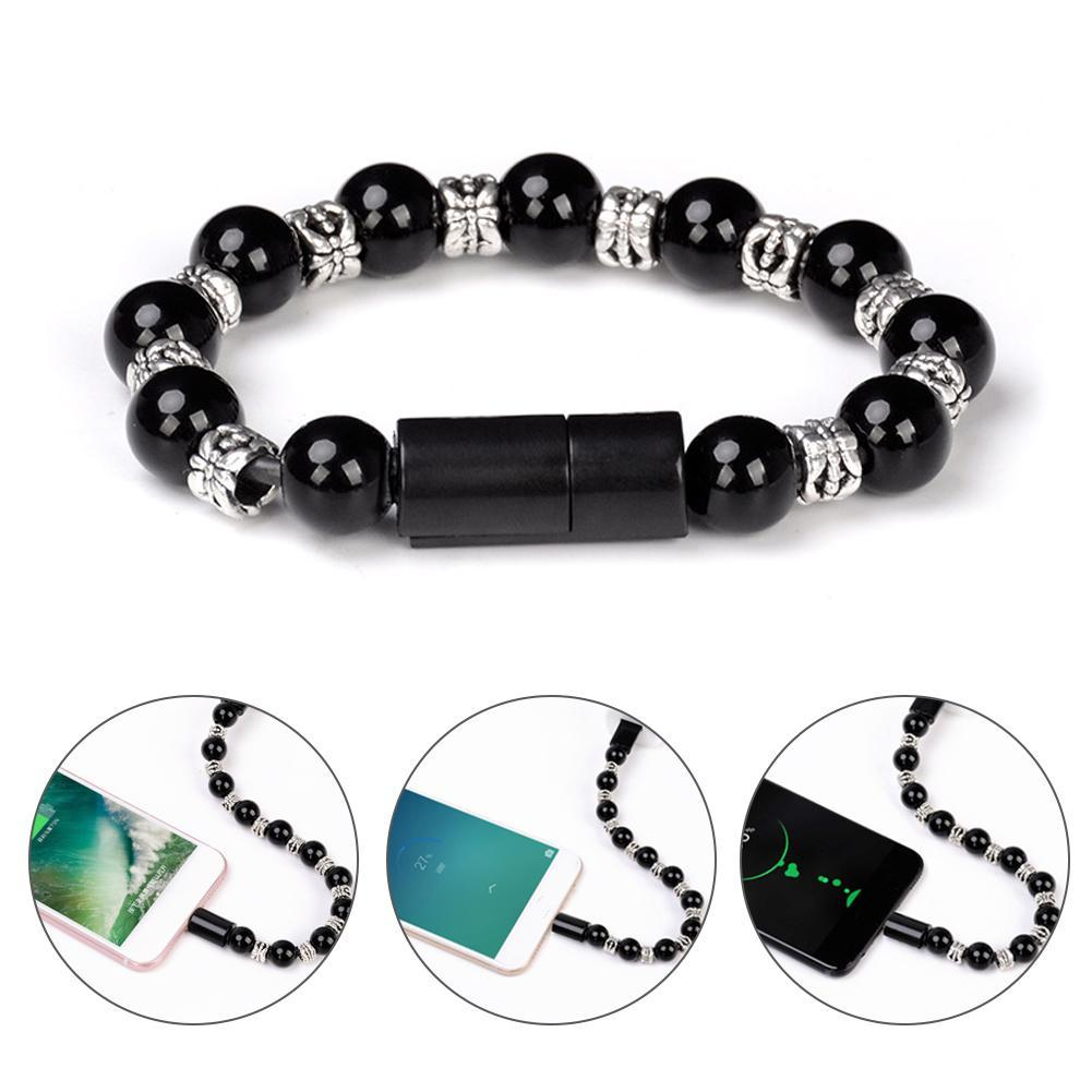 Kreativ <font><b>USB</b></font> Daten Sync Lade Kabel <font><b>Bead</b></font> Armband Ladegerät Reine Farbe Für Android 8pin Typ C für Samsung image