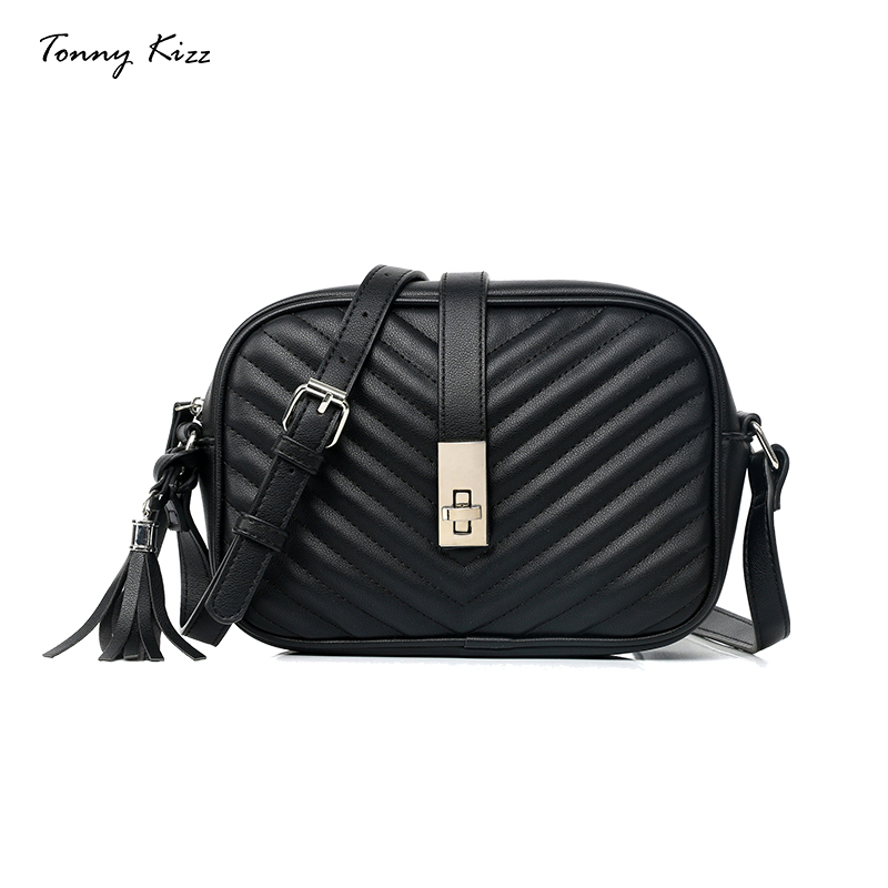Tonny Kizz fashion crossbody bags for women black flap messenger bags lady shoulder bags tassel high quality sac main femme-in Shoulder Bags from Luggage & Bags    1
