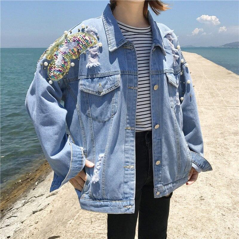 Studded Pearl Denim   Jacket   Women Jeans   Jacket   Vintage 80s Oversize Long Sleeve   Basic     Jackets   Plus Size 5XL