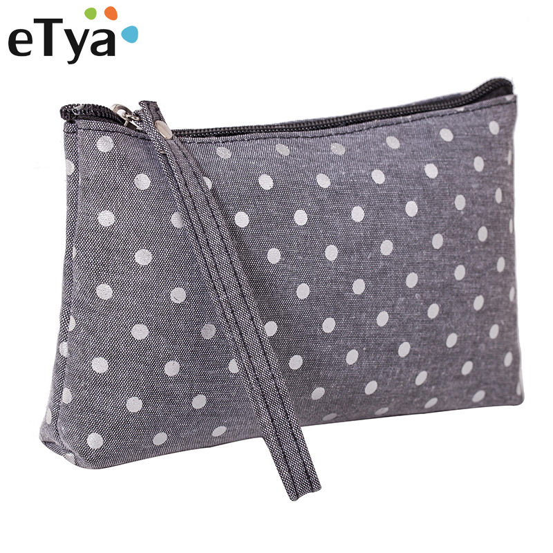 ETya New Fashion Dots Lady Cosmetic Bag Travel Organizer Make Up Toiletry Storage Bags Portable Women Makeup Bag Pouch Handbag