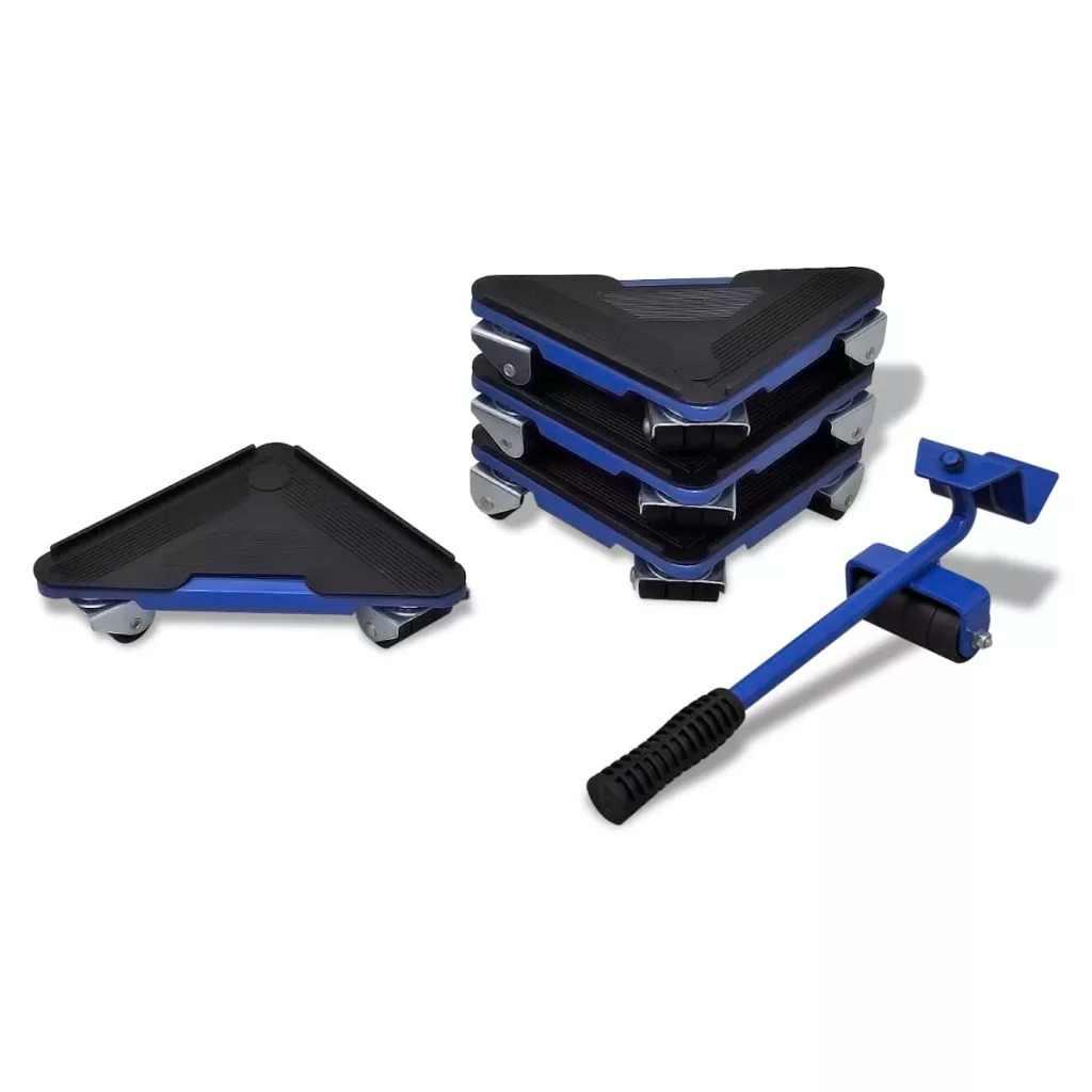 VidaXL 75 Kg ensemble de Transport de meubles poussoir et paire de roues haute qualité en caoutchouc élévateur à roues V3