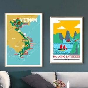 Wietnam Ho Chi Minh mapy miasta wyspa podróże obrazy na płótnie klasyczna ściana plakaty z papieru typu kraft powlekane naklejki ścienne Home Decor prezent