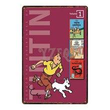 Tintin Cartoon Metal  Signs Plaque Vintage Wall Pub Kids Room Home Art Party Decor Iron Poster Cuadros DU-2972