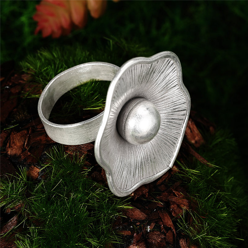 Image 5 - V.YA Vintage Jewelry S925 Sterling Silver Flower Ring For Women Adjustable Size Thai Silver Party JewelryRings