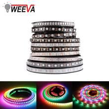 WS2812B DC 5V LED bande RGB 50CM 1M 2M 3M 4M 5M 30/60/144 LED s Smart adressable Pixel noir blanc PCB WS2812 IC 17Key Bar