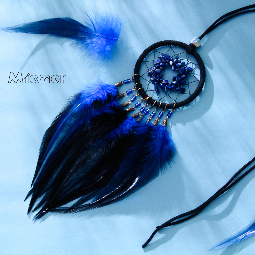 MIAMOR Blue White Dreamcatcher Necklace For Lady Nursery School Kids Room Decoration Car Home Wall Decor Accessories AMOR076 in Wind Chimes Hanging Decorations from Home Garden