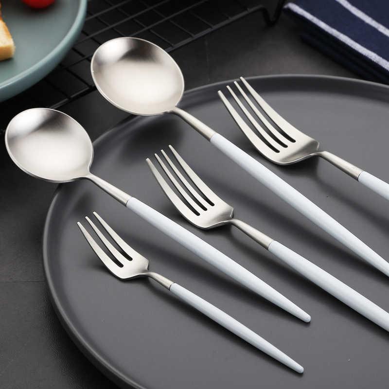 Conjunto de talheres de prata branco conjunto de talheres de aço inoxidável comida ocidental luxo garfo colher manteiga faca conjunto pauzinhos navio da gota