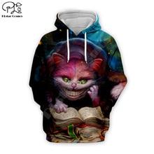 Halloween Alice Cheshire Cat print Men women 3d Hoodies Sweatshirt tshirt zipper Christmas cartoon pullover unisex Tracksuit