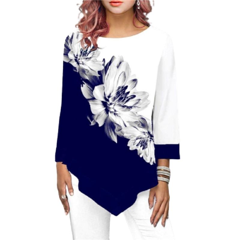 Irregular Flower Print Long Sleeve T shirt Women O Neck Fashion Autumn  Clothes Female T Shirts Casual Top Tees Plus Size S 5XL|T-Shirts| -  AliExpress