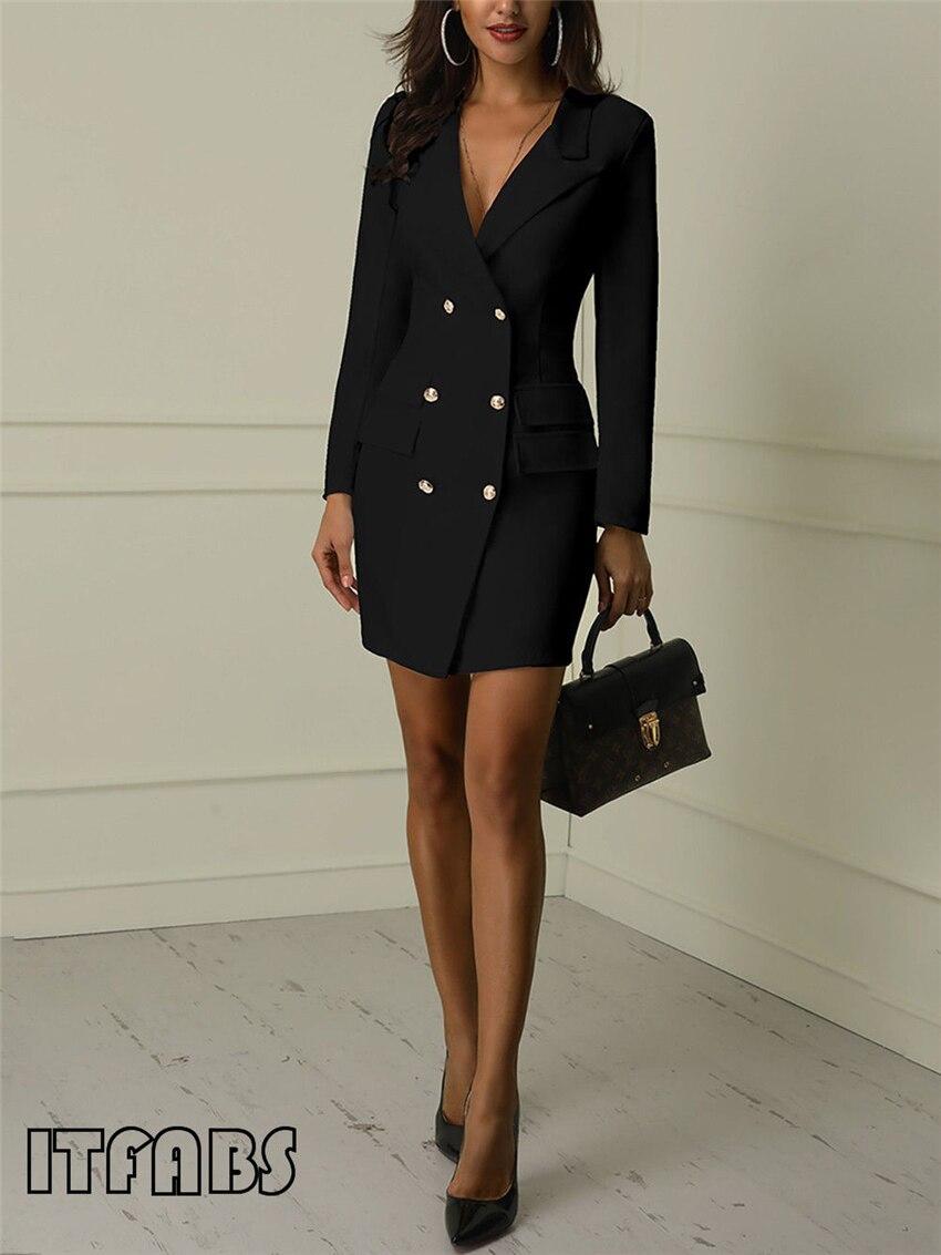 Hc0bb245042ee4aaeb10b8d5880195a380 Autumn Winter Suit Blazer Women 2019 New Casual Double Breasted Pocket Women Long Jackets Elegant Long Sleeve Blazer Outerwear