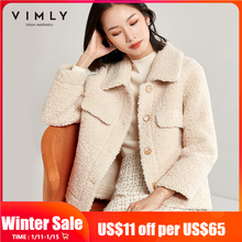 Vimly Faux Fur Coat For Women Autumn Winter Elegant Lapel Single Breasted Thick Solid Female Thick Outwear 30126