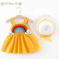 Vestido de verano para bebé y niña, ropa para niña recién nacida, Vestidos de princesa, vestido de 1 ° cumpleaños con sombrero de 0 a 2 años, 2020