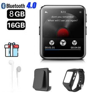 Image 2 - Bluetooth MP3 zegarek z ekranem dotykowym 8/16GB klip MP3 odtwarzacz dla bieganie jazda na rowerze piesze wycieczki wsparcie nagrywania, Radio FM
