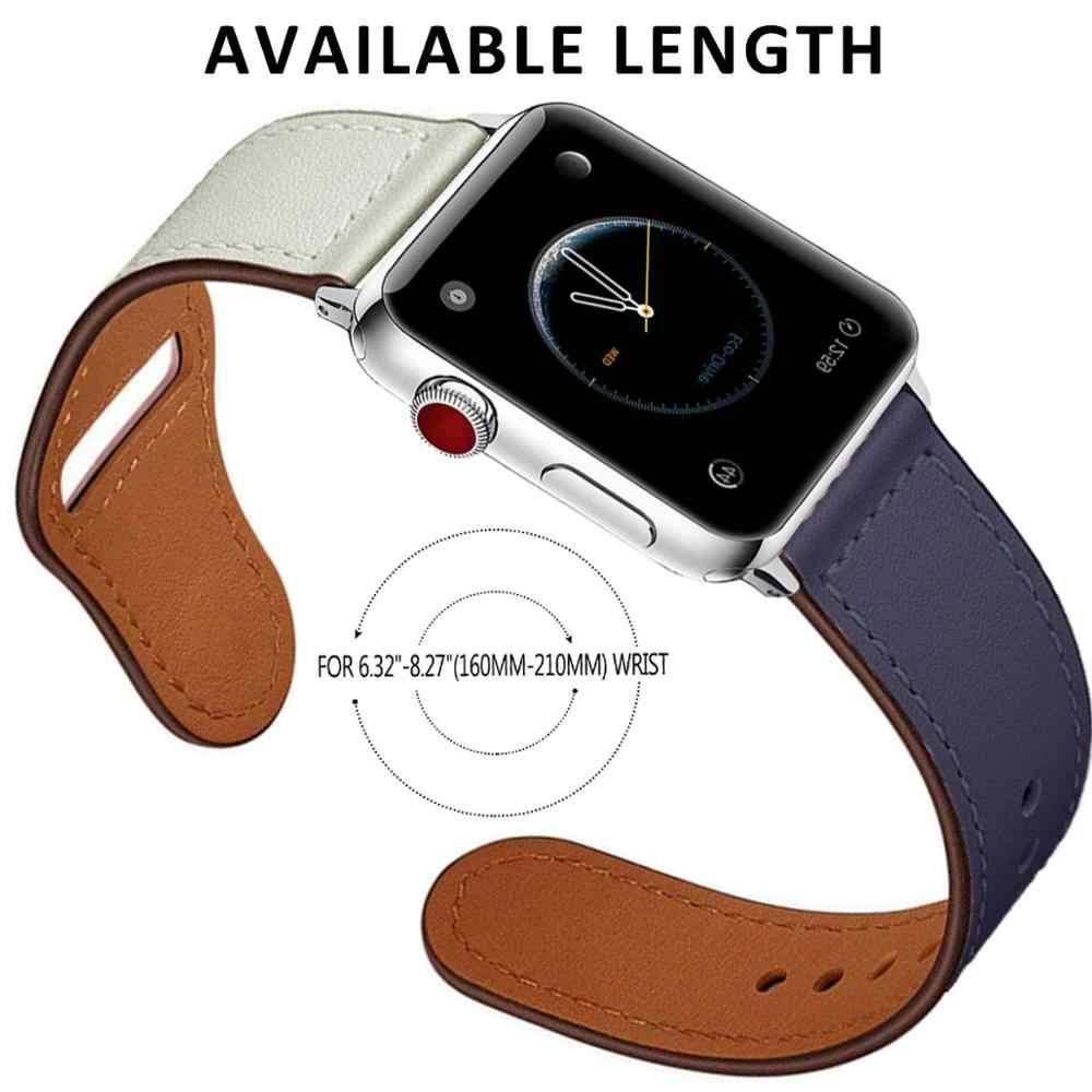 สายหนังสำหรับ Apple Watch band 42 มม.38 มม.สายนาฬิกาสำหรับ iWatch 44 มม.40 มม.5 /4/3/2/1 อุปกรณ์เสริมสร้อยข้อมือ